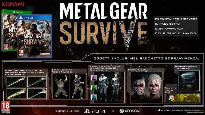 Ecco i bonus per coloro che effettueranno il preoder di Metal Gear Survive.